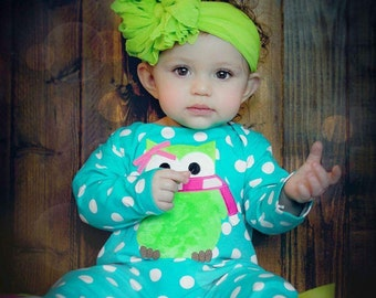 Lime Green Ruffle Messy Bow Headband