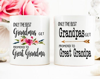 Only the Best Grandmas, Grandpas get Promoted to Great Grandma, Great Grandpa, Great Grandparents Pregnancy Reveal Mug,