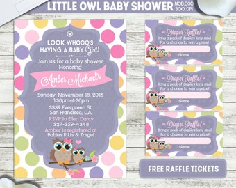 PRINTABLE || Little Owl|| Baby shower invitation|| FREE raffle tickets|| Any occasion, any wording!!