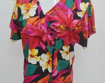 LUCIA Vintage LUCIA Colorfull Floral Abstract Print Made In USA Blouse Size 12
