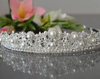 "Tiara Victorian Pearl Bridal Tiara, ""Viktoria"" Pearl Tiara, Bridal gold tiara,Leaf Pearl Wedding Tiara, Gold Pearl tiara,  Bridal Tiara."