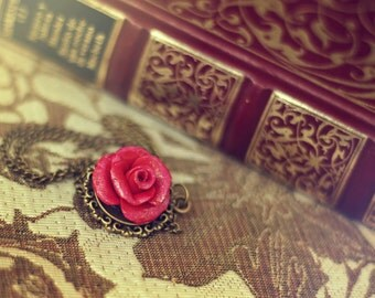 Necklace, enchanted Rose, Beauty and Beast, Disney, Rose, inspired by Beauty and the Beast.