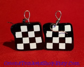 Checkered Earrings, elegant, black and white, charm, youthful, design, artsy, casual, birthday, gift, present, checkered flag, square