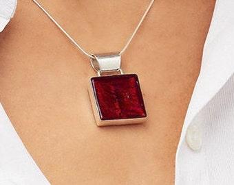 Murano Glass Square Pendant, Sterling Silver Pendant, Ruby Red Pendant, Venetian Glass, Silver Necklace, Ruby Wedding Anniversary Gift