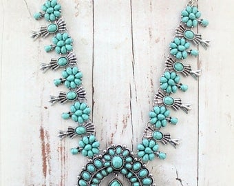 SQUASH BLOSSOM style reproduction statement Chuncky necklace Alloy& Acrylic turquoise color Bohemian Native American southwestern by Inali