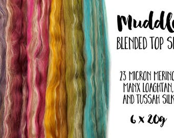Blended Roving Pack - Manx Loaghtan - Merino wool - Tussah silk -  6 x 20g/0.7oz (120g/4.23oz) - Rainbow MUDDLE