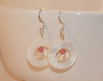 White Crystal and Shell Earrings
