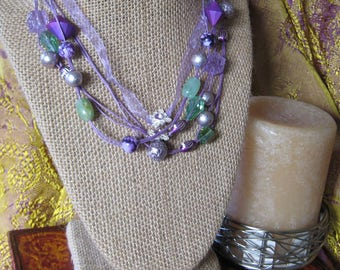 Purple Ribbon and cord necklace