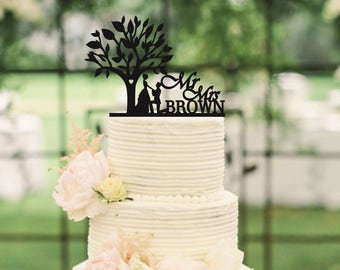 Wedding Cake Topper Tree Wood Cake Topper Mr and Mrs Surname Cake Topper Rustic Cake Topper Names Cake Topper Personalized Cake Topper Gold