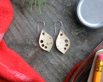 Real Birch Bark Earrings / Maine Birch Bark Earrings / Birch Bark Jewelry / FREE SHIPPING