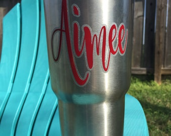 Custom Fun Double Script Name Decal Yeti / RTIC / Corksicle / Ozark / Cup / Gift / Mom / Woman / Girl / Glitter