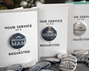 Will You Be My Groomsman Card Buttons, Best Man, Usher, Ring Bearer, Wedding Party Mustache Fun Way for Guys to Ask Groomsmen Cards (5ct)