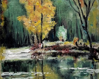 Free shipping Oil painting Autumn Trees Landscape Water Reflection Small painting