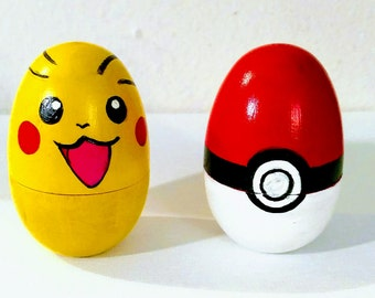 Pikachu and Pokeball Wooden  Eggs,Hand Painted Wooden Eggs,Pikachu Decor,Pokeball Decor,Pokemon Decor,Decorative Eggs,Pokemon Art
