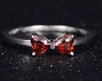 Heart Shape Garnet Engagement Ring White Gold Delicate Dainty Anniversary Gift Unique Promise Bow Solitaire Minimalist