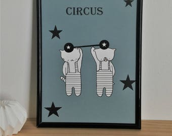 "Graphic poster for boy ""Choumi et Michou : édition circus"" - graphic design poster."