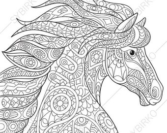 adult coloring page horse zentangle doodle coloring book page for adults digital illustration instant download print