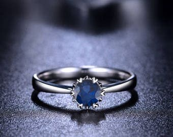 Blue Sapphire Engagement Ring 14k White Gold / Yellow Gold / Rose Gold Round Blue Sapphire Ring Solitaire Engagement Ring Proposal Ring