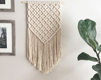 Large macrame wall hanging / large lattice weave / woven wall hanging / wall tapestry / textile wall hanging / macrame mural