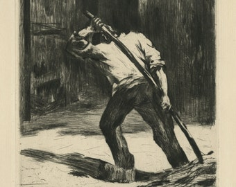 """LESSER URY (German, 1861-1931), """"Auf der Tenne"""", 1923, drypoint, pencil signed"""