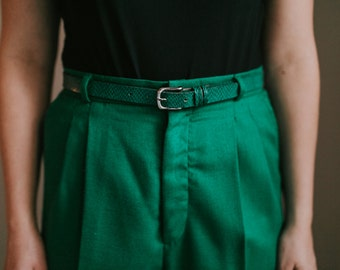 High Waisted Green Pants with Belt