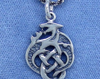 Celtic Dragon Rope Chain Necklace - Sterling Silver - CDR200469