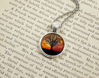 Pendant Necklace - Tree Over Harvest Moon - Meme Jewelry, Meme Gifts, Dank Memes, Funny Gifts, Internet Gifts, Birthday Gift, Vintage