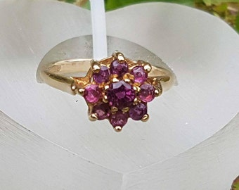 Pink Rhodolite Garnet Flower Cluster Ring