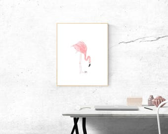Small Paintings Original Watercolor Painting Pink Flamingo Original Miniature Painting Abstract Watercolor Painting Pink Bird Minimalist Art