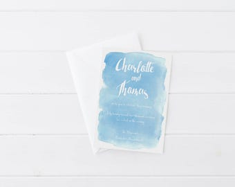 Custom Watercolor Wedding Invitation, Save the Date, Custom Calligraphy, Any Colors!
