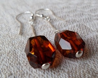 Genuine Baltic Amber Cognac Graduated Glittering Earrings 925 Sterling Silver Solid