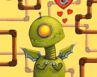 "Robot love art print, ""Pipe Dreams"" 5.75x6.5"""