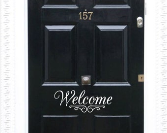 Welcome Door Decal, Front Door Decal, Front Door Sticker, Welcome Decal, House Warming Gift, Gift for New Homeowner, Home Decor, Door Decal