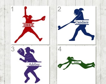 Softball Decal, Personalized Softball Decal, Girls Sports Decal, Softball Player Gift, Softball Team Gifts, Sports Decal, Softball Car Decal