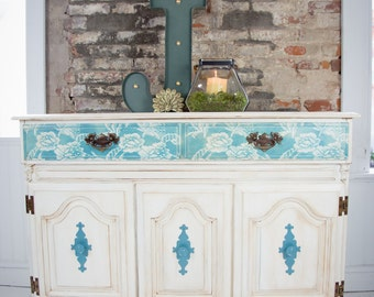 Distressed White and Teal Buffet Cabinet with Lace Pattern Drawers