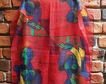 Women's Vintage Red Picasso Print Neck Scarf