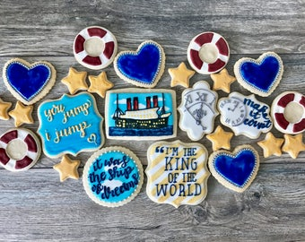 Custom Cookies Titanic 20th Anniversary Movie, 2 Dozen, Sugar Cookies, Party Favors, Oscars, 90's, Nautical, Love, Jack & Rose, Gift for Her