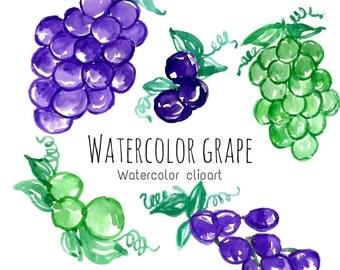 Grape Clip Art - Watercolor Fruit - Watercolor art - Hand Painted Clip Art - Fruit Art - Commercial Art