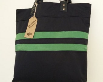 "Bag ""Mariana"", reversible bag, purse, tote bag, hobo bag, leather, black handles, leather"