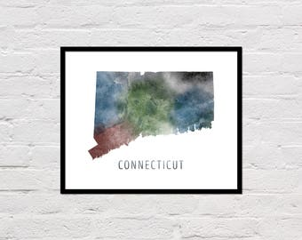 Connecticut Map Print, Printable Connecticut State Map, Connecticut Art Print, Connecticut Wall Art, Watercolor Map, Connecticut Poster