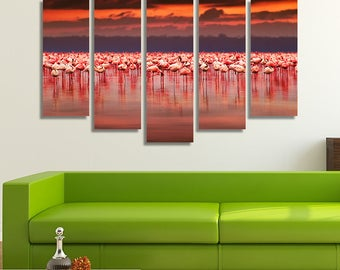 LARGE XL African Flamingos Canvas Print Flock of Exotic Birds in Kenya, Lake Nakuru National Park Wall Art Print Home Decoration - Stretched