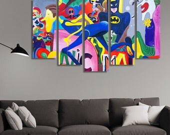 Kids Room Wall Art, Batman Canvas Art, Batman Canvas, Batman Canvas Painting, Kids Room Wall Décor, Superhero Wall Décor, Superhero Wall Art