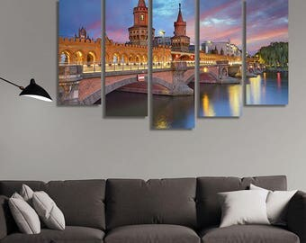 LARGE XL Oberbaum Bridge, Berlin at Sunset Canvas Wall Art Print Home Decoration - Framed and Stretched - 1125