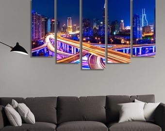 LARGE XL Night Shanghai, China Canvas Modern City Lights Wall Art Print Home Decoration - Framed and Stretched - 1118