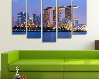 Singapore, Skyline Print, Office Décor, Office Wall Art, City Skyline Prints, Stretched Canvas Art, Large Wall Art Canvas, City Prints