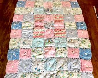"vintage handmade quilted baby blanket 48"" X 28"""