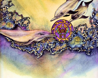 Dolphin Totem With Mandala, Fine Art Print of Watercolor Painting By Laurel Fern, 8x10, Matted For an 11x14 Frame.