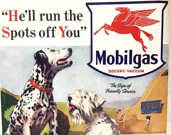 1940s Mobilgas Dogs Ad from Life Magazine Aug. 5, 1940 Dalmatian and Scottie Dogs  Classic Ads Gasoline Autos Retro Advertising Vintage Ads