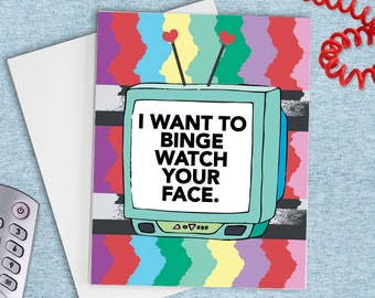 I Want To Binge Watch Your Face, Card for boyfriend, card for husband, funny card for him, funny love card, anniversary card for him