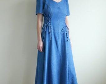 Denim Lace Up Midi Dress